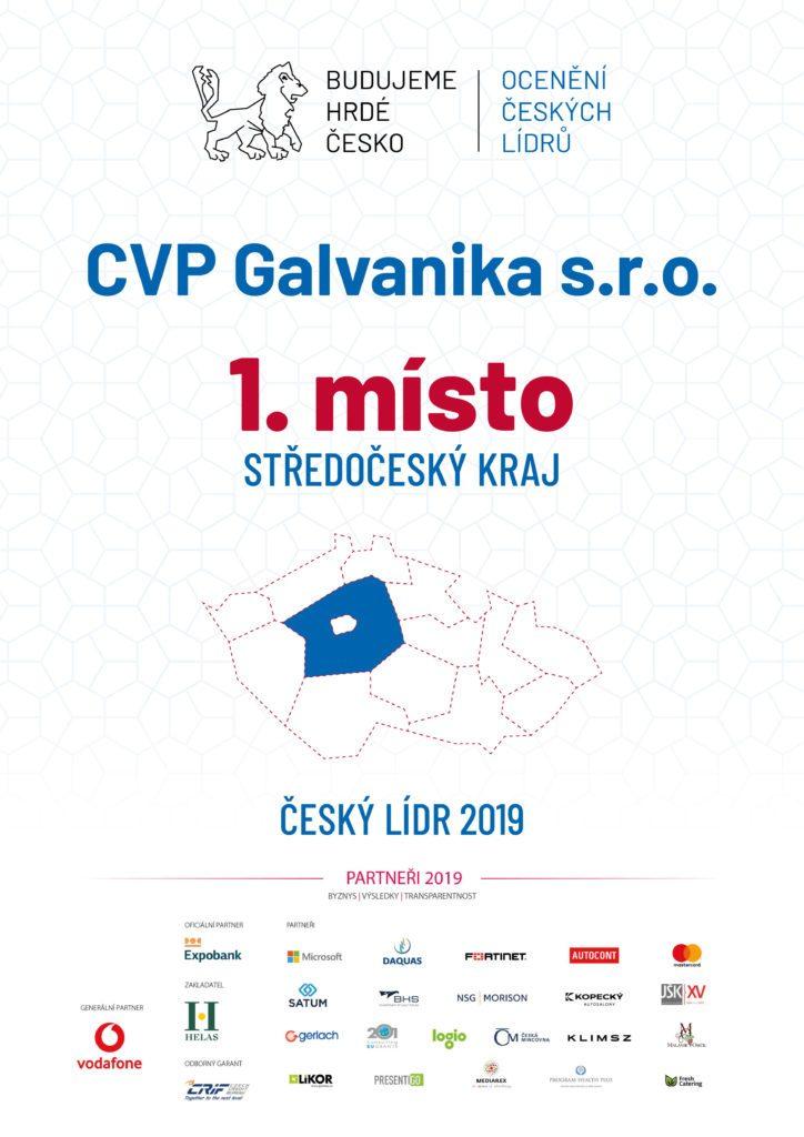 """CVP Galvanika s.r.o. zvítězila ve Středočeském kraji v soutěži """"OCENĚNÍ ČESKÝCH LÍDRŮ"""""""